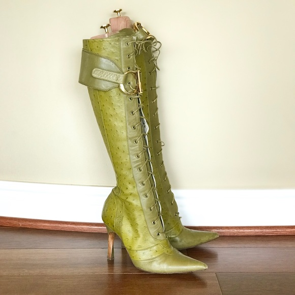 Christian Dior Green Ostrich Lace Up